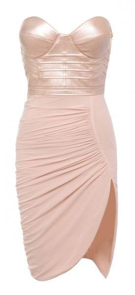 Marushka Pale Pink Leatherette Bustier Drape Dress