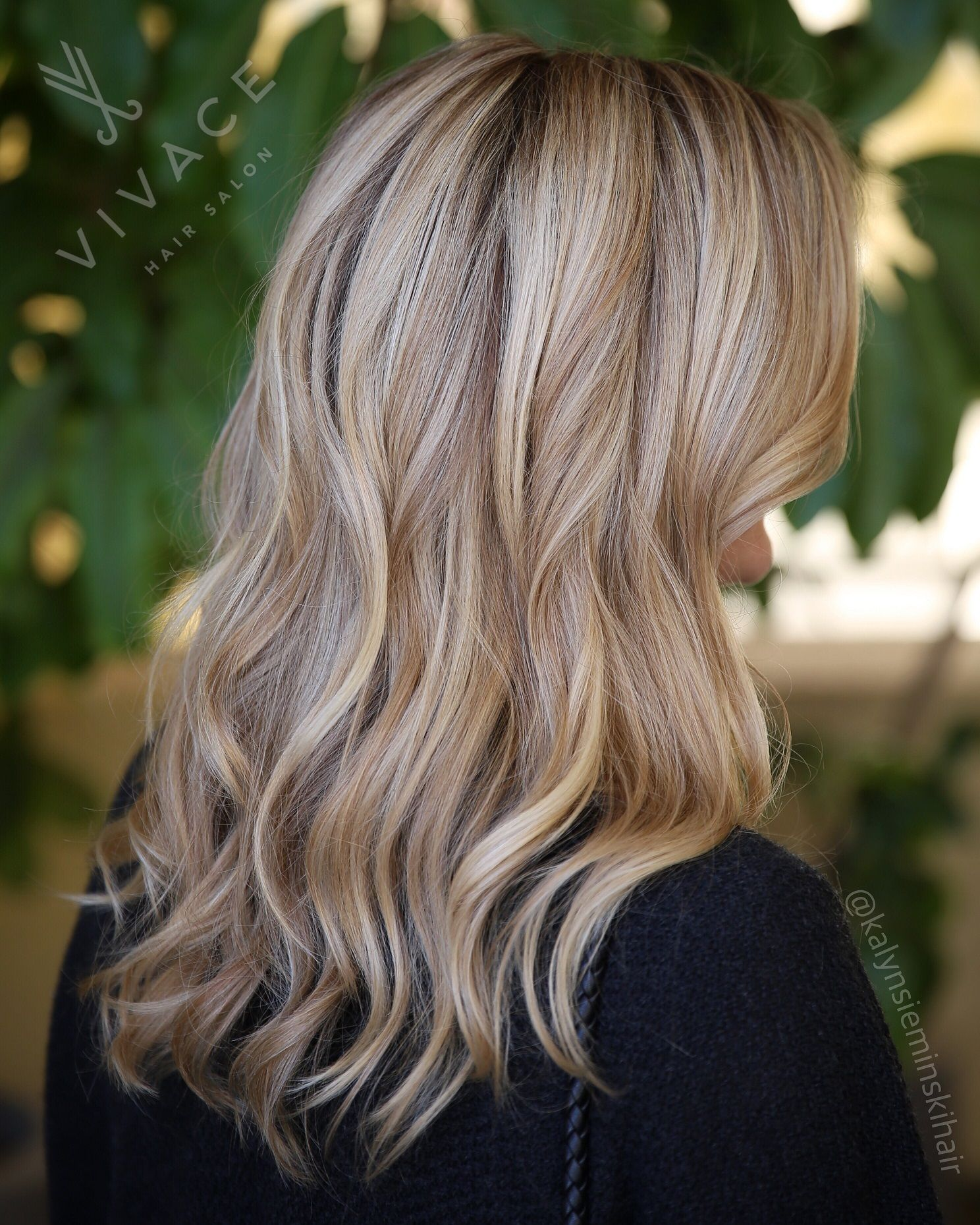 Beautiful blonde by Kalyn Sieminski. Bright dimensional tones created with a balayage / highlight combo.