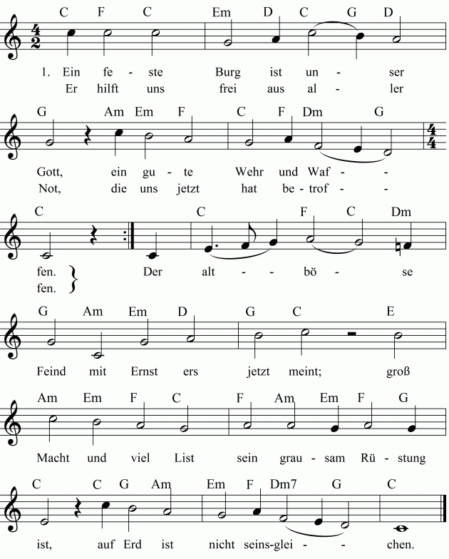 Liedtext O Tannenbaum.Musiknoten Zum Lied Ein Feste Burg Ist Unser Gott Noten Lieder