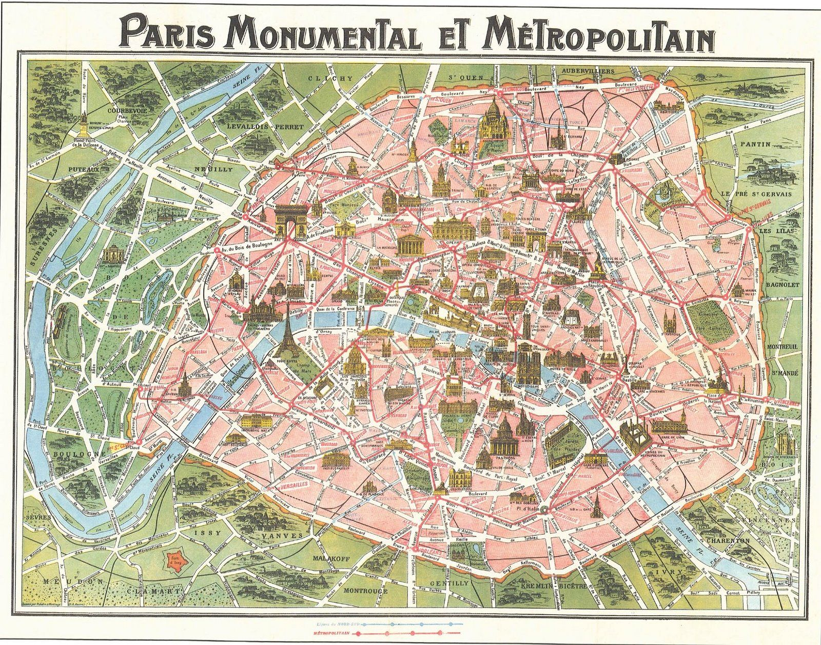 Map of Paris circa 1910 Map of