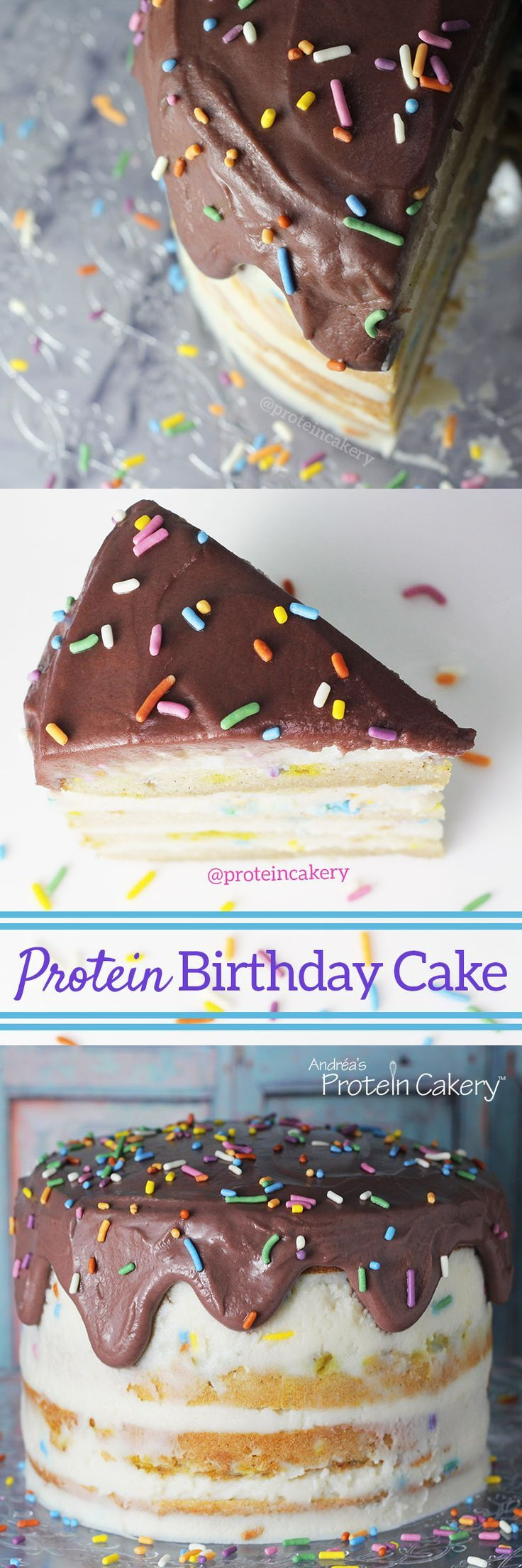Swell Protein Birthday Cake With All Natural Sprinkles Gluten Free Funny Birthday Cards Online Chimdamsfinfo
