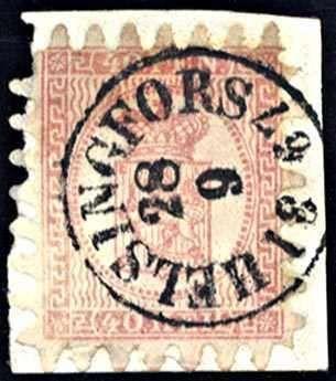 Finland 40 P. rosakarmin auf Briefstück, eine Zunge fehlt, K1 HELSINGFORS 28.9.1867, gepr. Rudolph (120,-)  Lot condition   Dealer Dresdner Stamp Au...