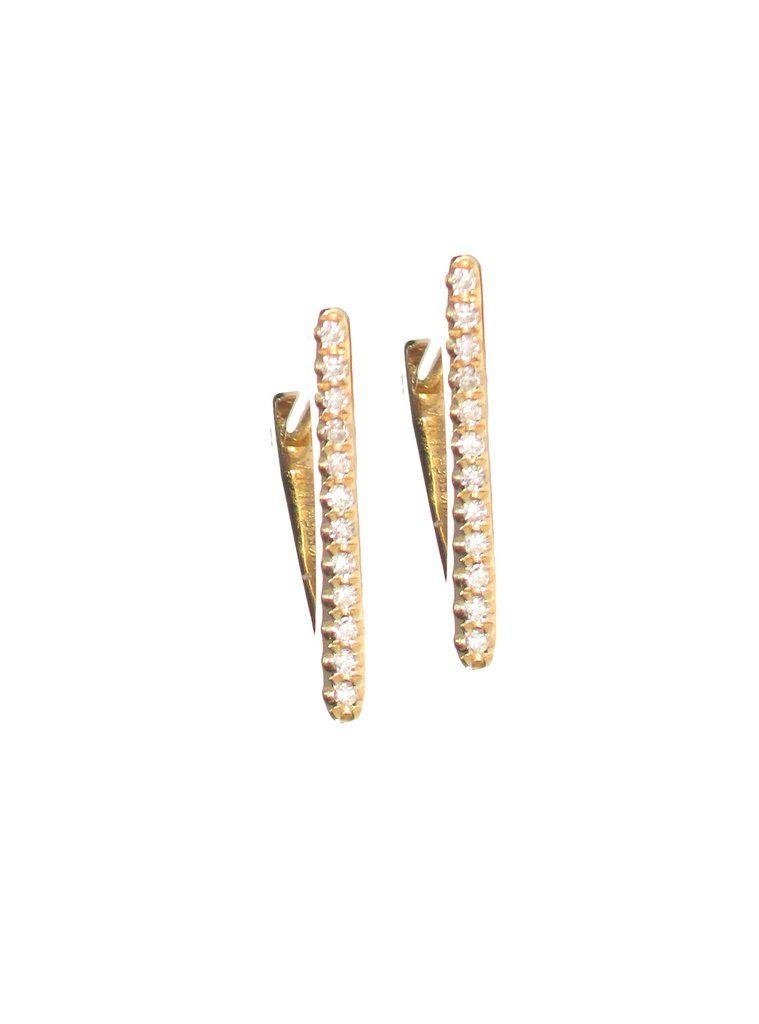 c4a23d911 Gold & Diamond Triangle Huggie Earring - The EarStylist by Jo Nayor - 1