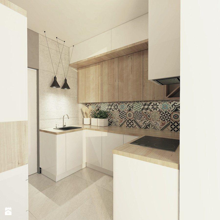 Mieszkanie Jaworzno Mala Otwarta Kuchnia W Ksztalcie Litery U Z Wyspa Styl Skandynawski Zdjeci Small Kitchen Renovations Kitchen Design Kitchen Renovation
