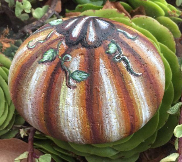 Painted Pumpkin Painting On A Rock Halloween Fall - createdcanvases - California | eBay