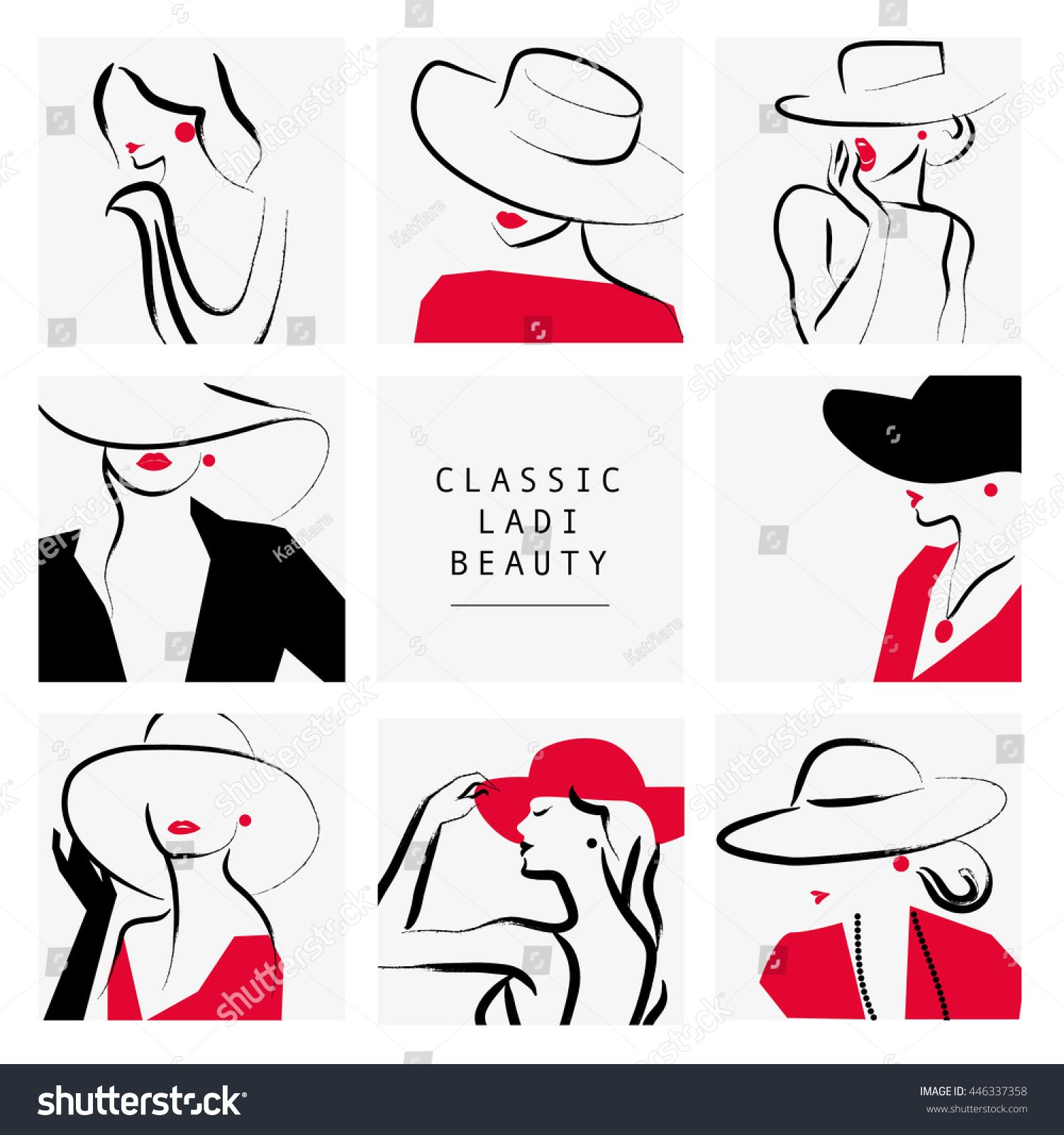 5ccddddb8148c Vector artistic hand drawn stylish young lady portrait set isolated on  white background. Fashion girl, model. Woman in hat.