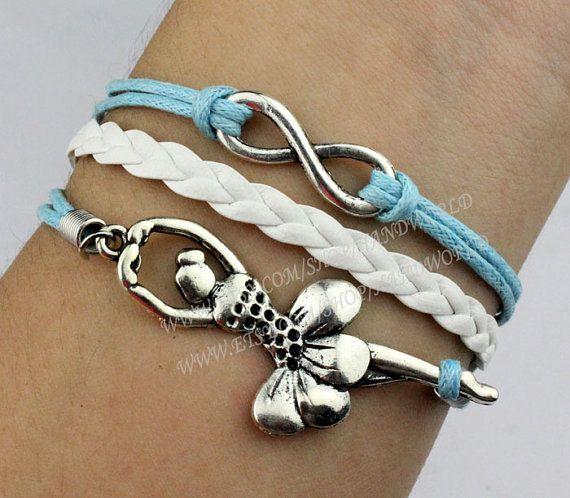 infinity & ballet dancer charm bracelet antique by handworld, $3.79