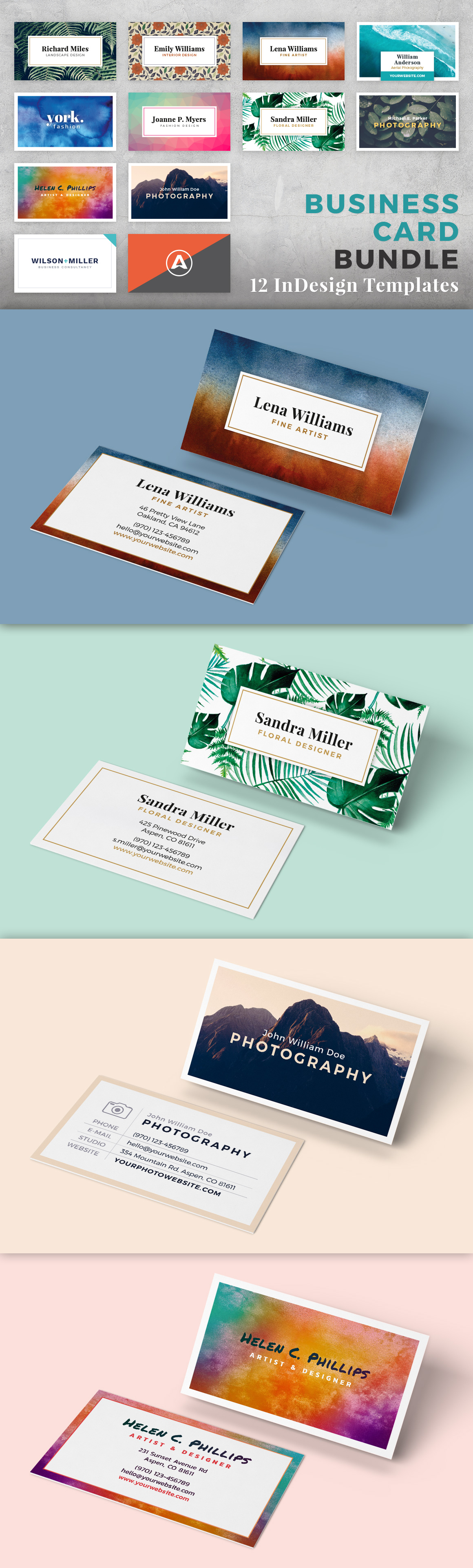This unique bundle included 12 business card templates for Adobe ...