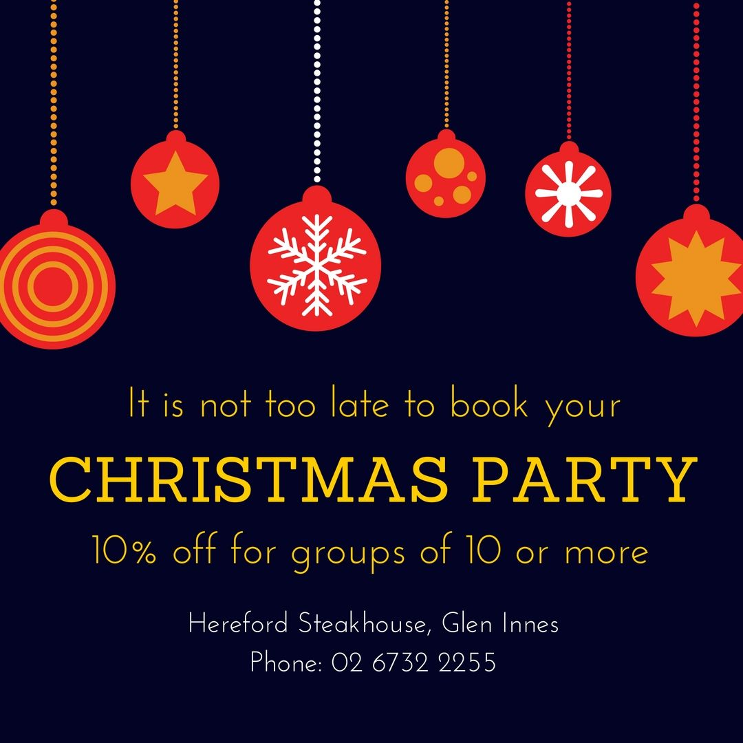 It is not too late to book that Christmas Party.  Whether it be a group booking in the restaurant or your very own cocktail party, the Hereford Steakhouse is the perfect place to celebrate Christmas this year.    All bookings of 10 or more people receive 10% off the final bill.  Come and get festive at the Hereford Steakhouse.
