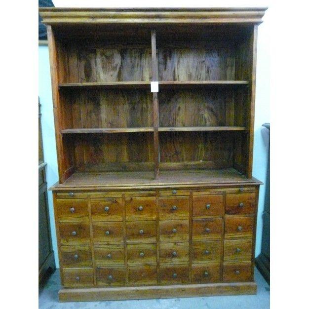 Armario antiguo de farmacia en madera de nogal colecci n - Armarios de cocina antiguos ...