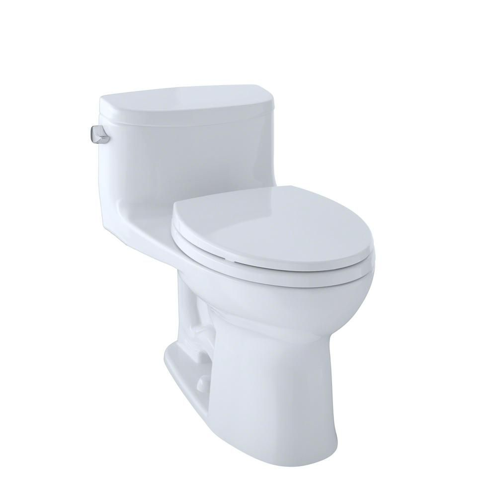 Toto Supreme Ii 1 Piece 1 28 Gpf Single Flush Elongated Toilet With Cefiontect In Cotton White Seat Included Ms634114cefg 01 Toilet Toilet Cleaning Toto Toilet