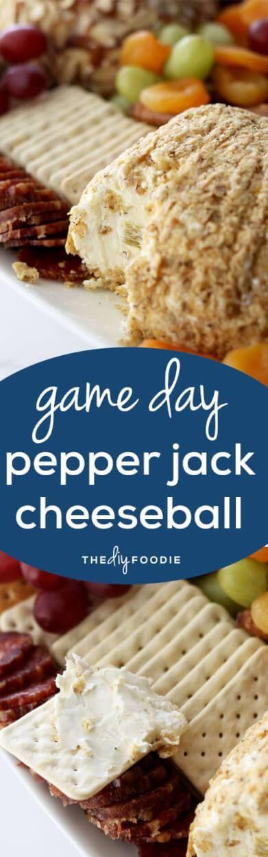Game Day Pepper Jack Cheeseball #tailgatefood