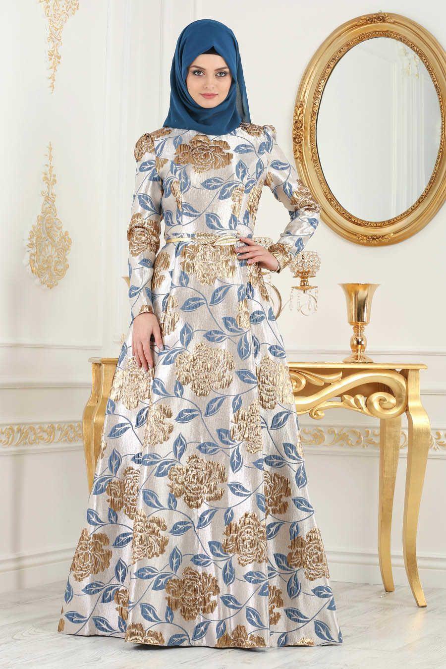 Neva style blue hijab evening dress m evening dress