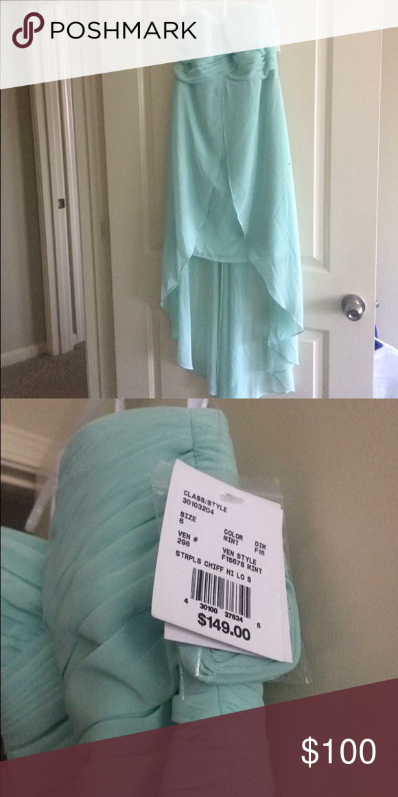David's Bridal strapless high low dress Strapless size 6 muted mint dress. Perfect for a summer wedding. David's Bridal Dresses High Low