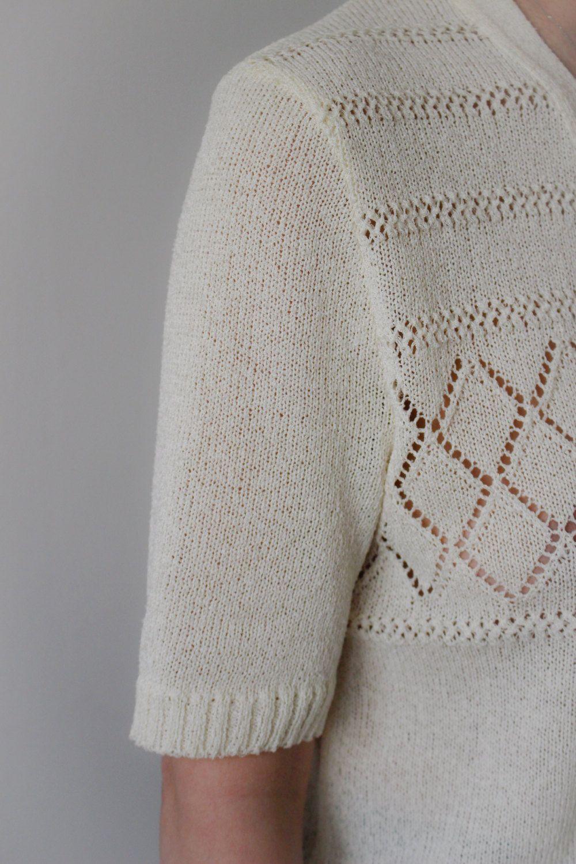 Filet Sans Sauce / Gilet Vintage / Ivoire / Tricot / Crochet / Made In France de la boutique LARELIGIEUSE sur Etsy
