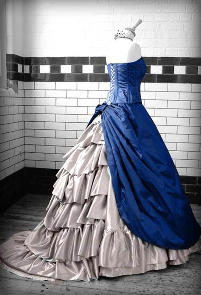 Steampunk Fashion For Women Wedding Gowns Kindred Theme Tardis Blue