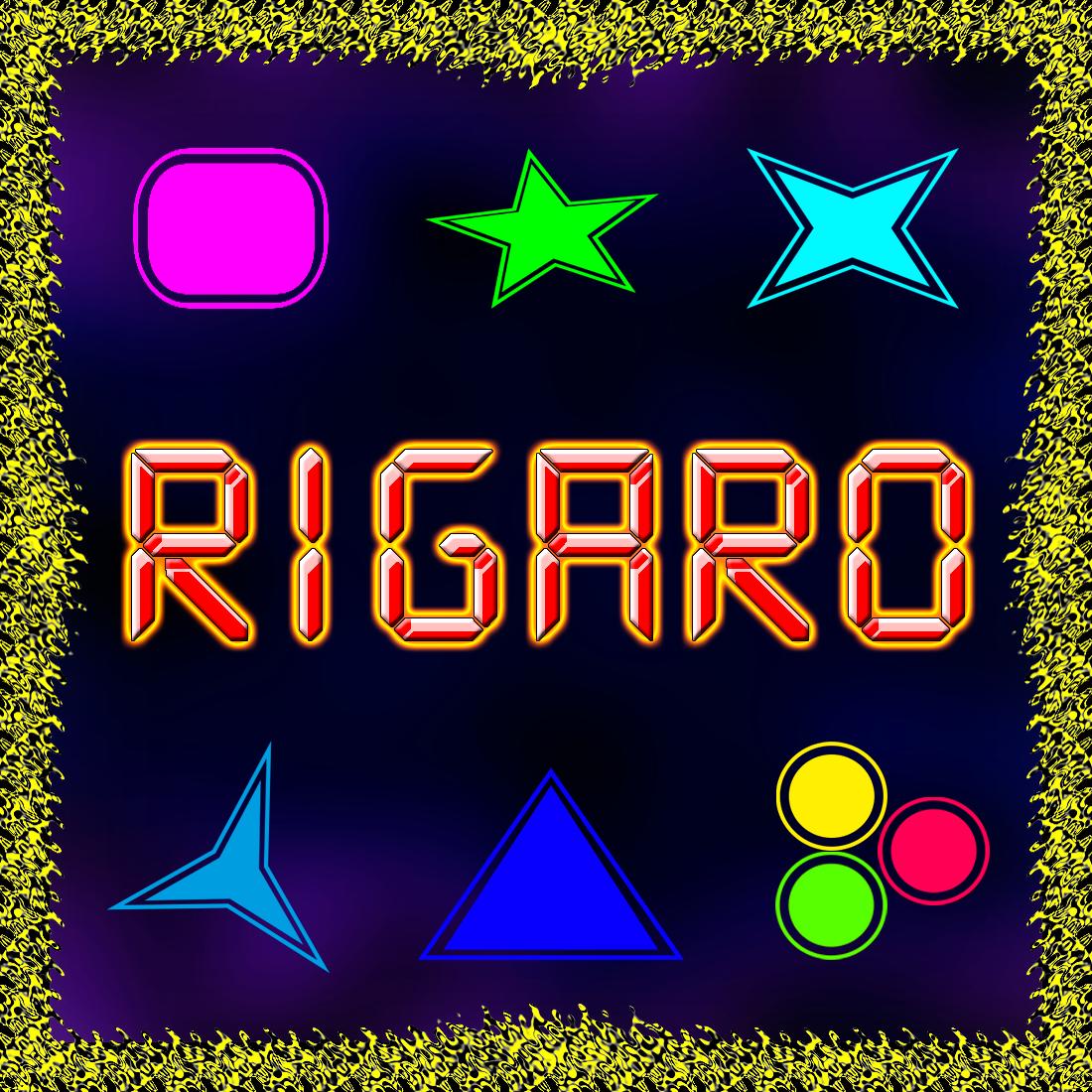 Rigaro, trata de esquivar las figuras geométricas y coger los círculos para aumentar los puntos.
