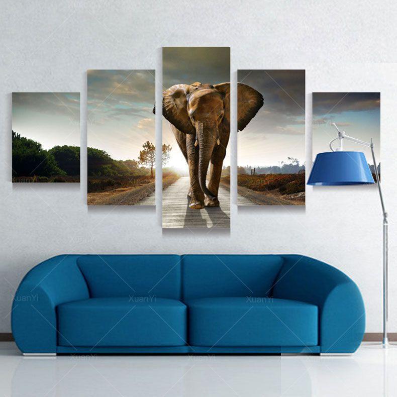 Cheap 5 panel moderna grande elefante impresa pintura al for Decoracion de paredes con cuadros