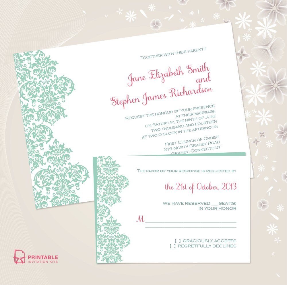 Beautiful WeddingInvite Printables To Download For Free - Wedding invitation templates: make your own wedding invitations free templates