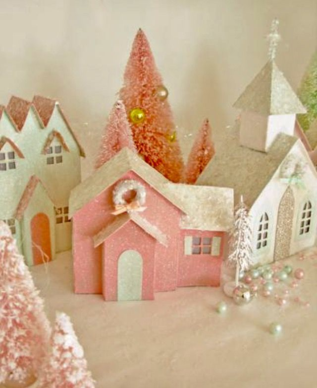 Beautiful Vintage Pastel Putz Style Village Houses Mica Glitter Holiday House Easter Valentine S Da Diy Christmas Village Glitter Houses Glitter Christmas