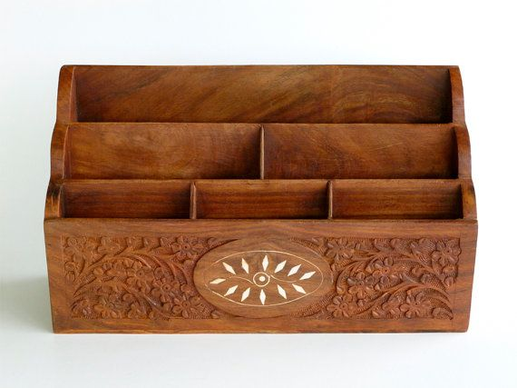 Vintage Hand Carved Sheesham Wood Letter Holder Desk Organizer Made In India Only One In My Shop Fairylynne At Etsy Sheesham Wood Letters Sheesham Wood