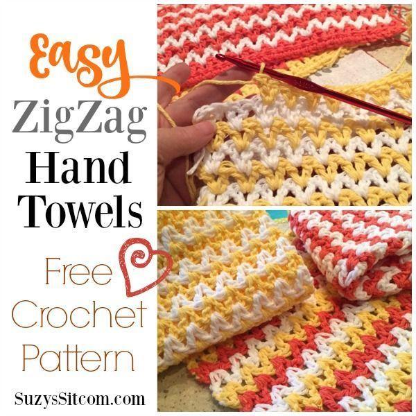 Easy ZigZag Hand Towel Crochet Pattern | Suzys Artsy Craftsy Sitcom ...
