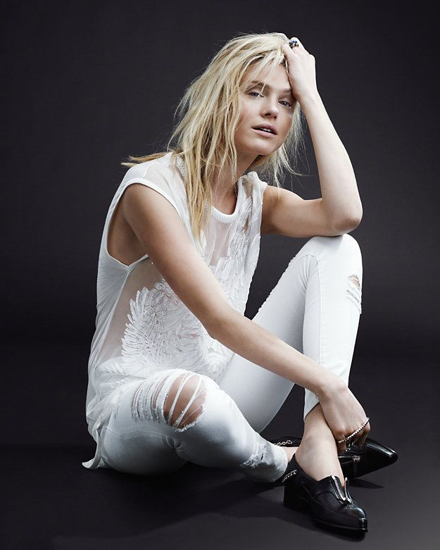 #White #Editorial #Model #Denim #Top #Embroidery #Spring #Style #Fashion #BiographyInspiration