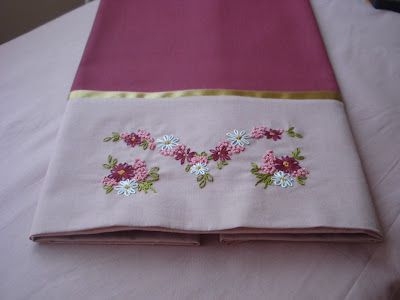 vintage hand embroidery design on pillow case..