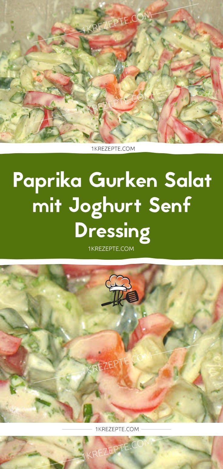 Paprika Gurken Salat mit Joghurt Senf Dressing  1k Rezepte