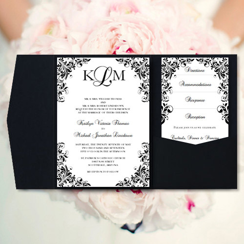Pocket Fold Wedding Invitations Kaitlyn Black White Printable