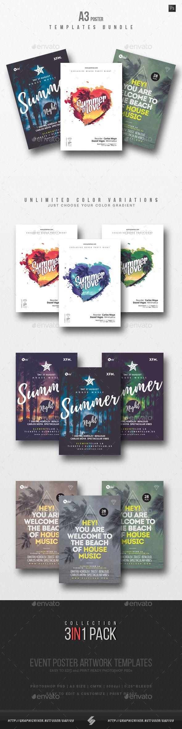 Summer Beach Party Flyer / Poster Templates Bundle | Summer beach ...