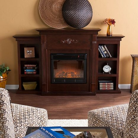Tennyson Espresso Electric Fireplace w/ Bookcases