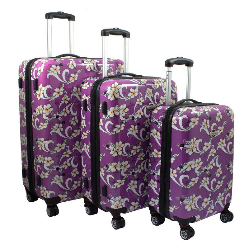 Transworld Tropical Flower 3 Piece Expandable Hardside Spinner Luggage Set - 738800-PURPLE