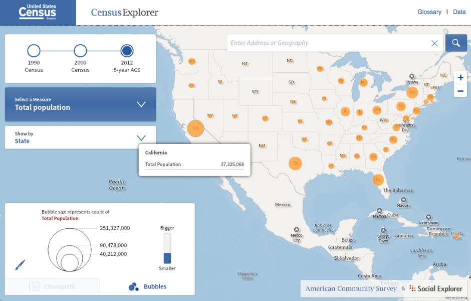 Census Explorer ~ American Community Survey statistics and the U.S. on