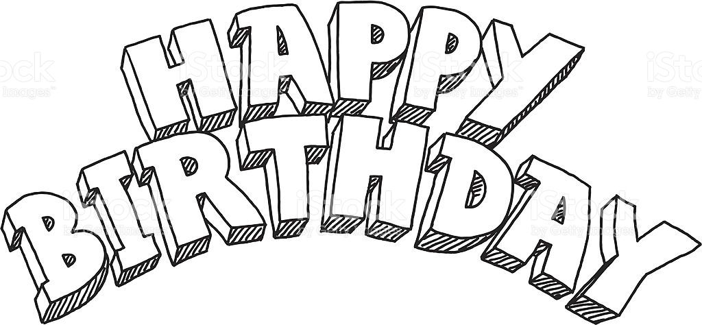 Hand Drawn Vector Drawing Of A Happy Birthday Lettering S