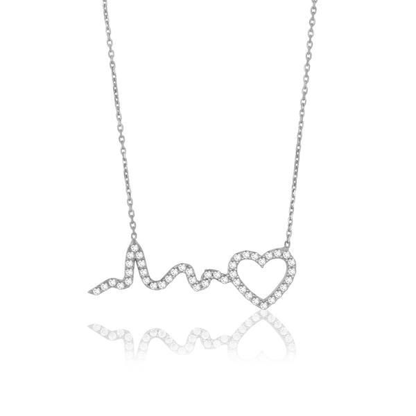 "Heart Heartbeat CZ 16+2"" Necklace in 925 Sterling Silver by GetDiamondsDirect on…"