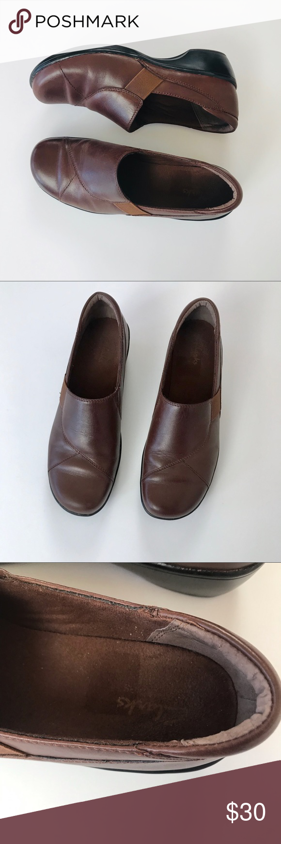 CLARKS Women's Brown Leather Slip On Wedge Loafers Minor scuffs on toes but overall great preowned condition  Material Leather upper and man made balance  Heel 1 5 in    M74E Clarks Shoes Flats & L is part of Dress shoes men -