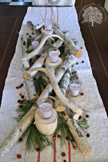 White Birch Antler Christmas Centerpiece Christmas Centerpieces Log Centerpieces Antler Christmas