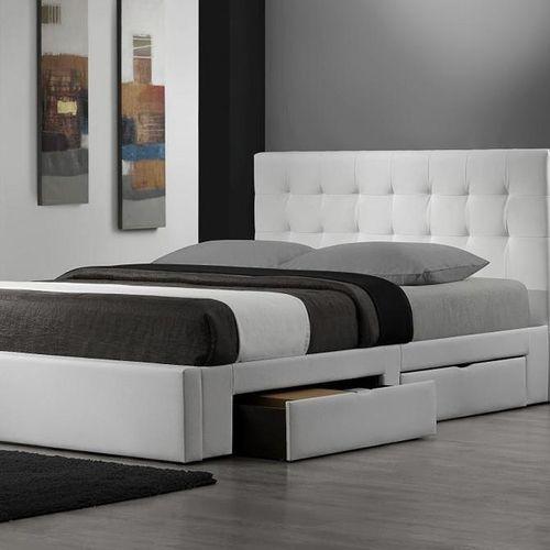 Queen Size Storage Platform Bed With White Faux Leather Headboard