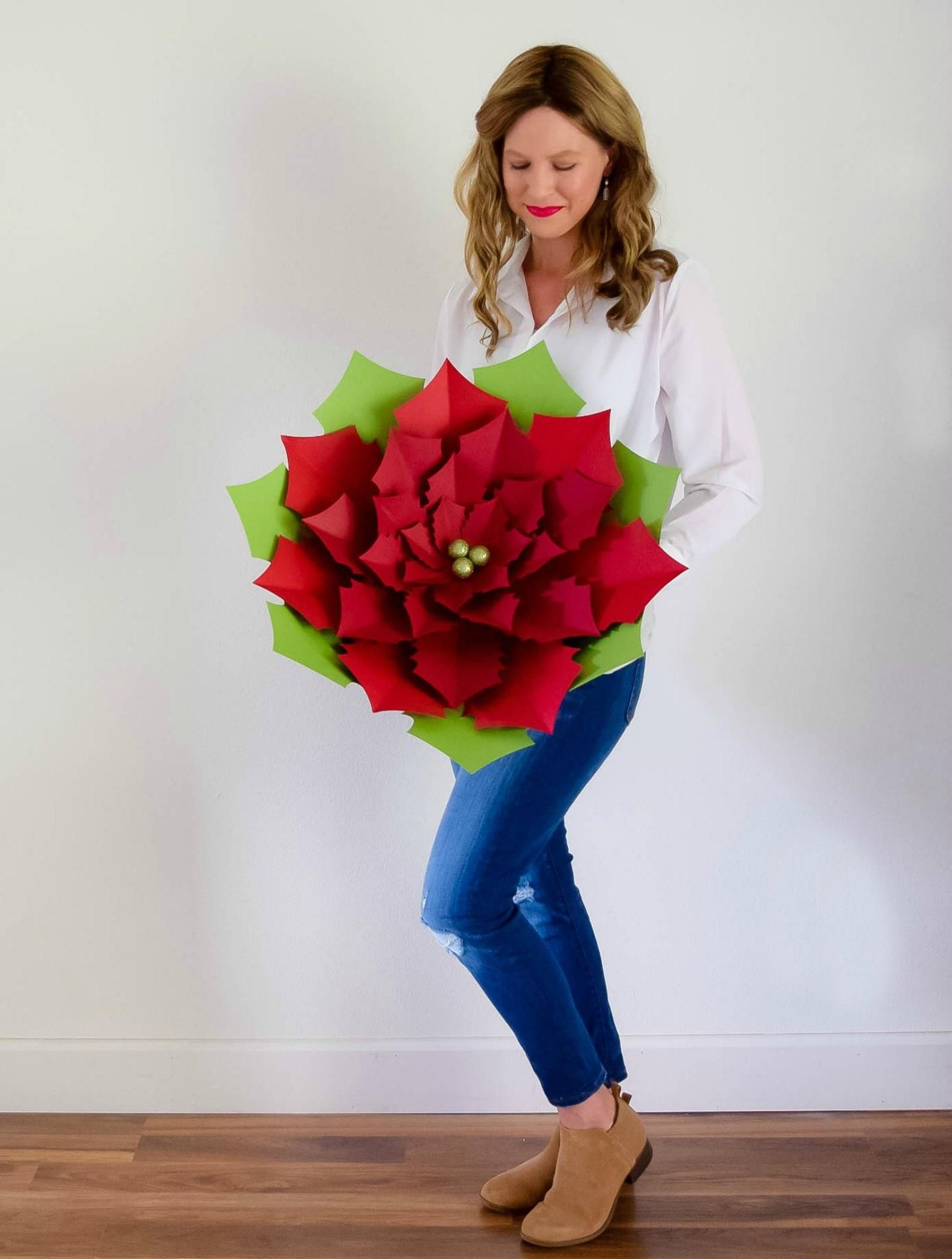 Christmas Paper Flower Giant Poinsettia Template, Paper