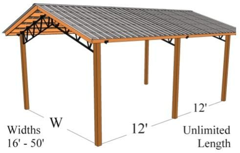 Steel trusses pressure treated post metal roofing pole for Cost to install trusses