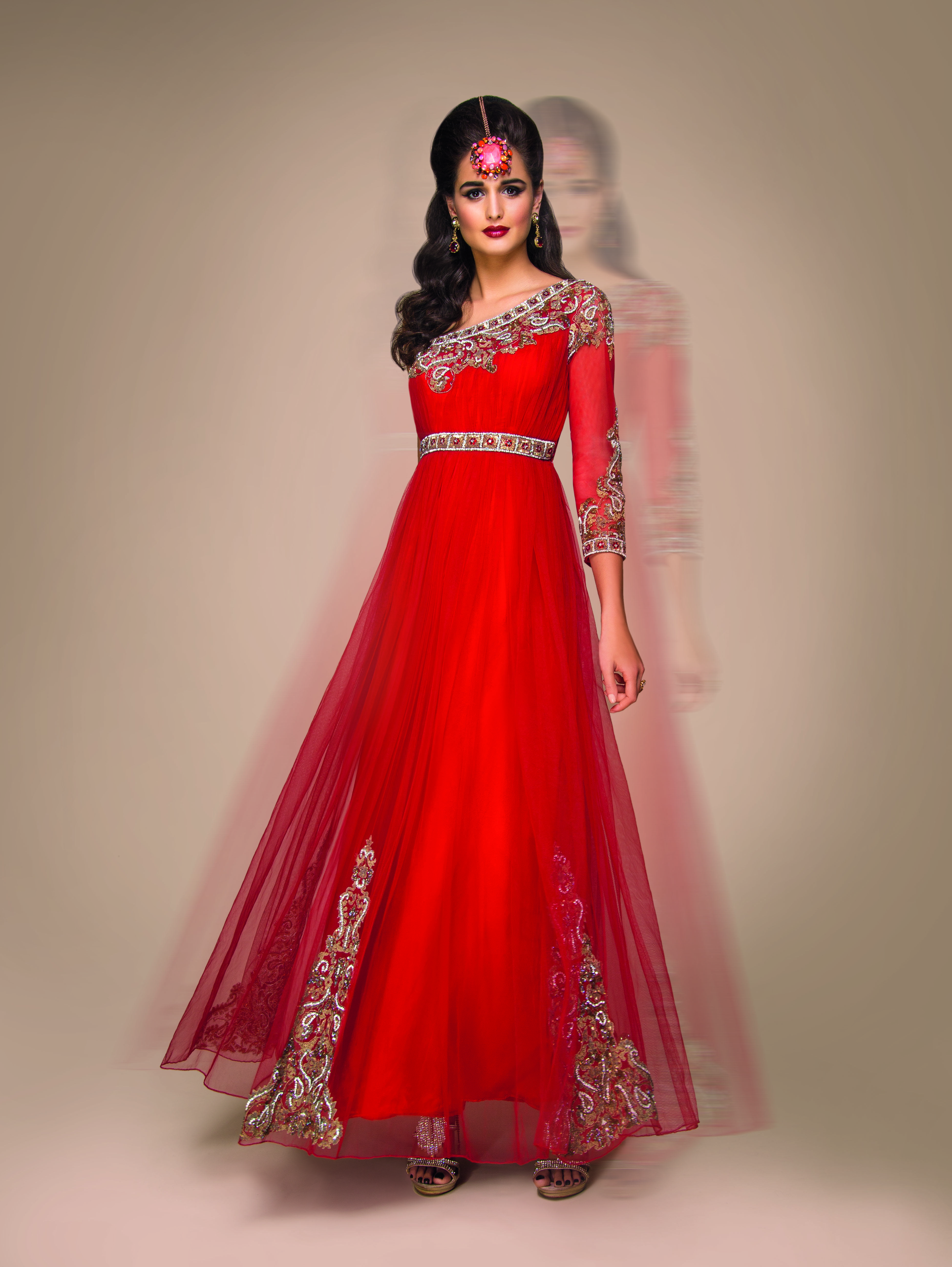 Red antique-embroidered one-shoulder Indo-western bridal gown ...
