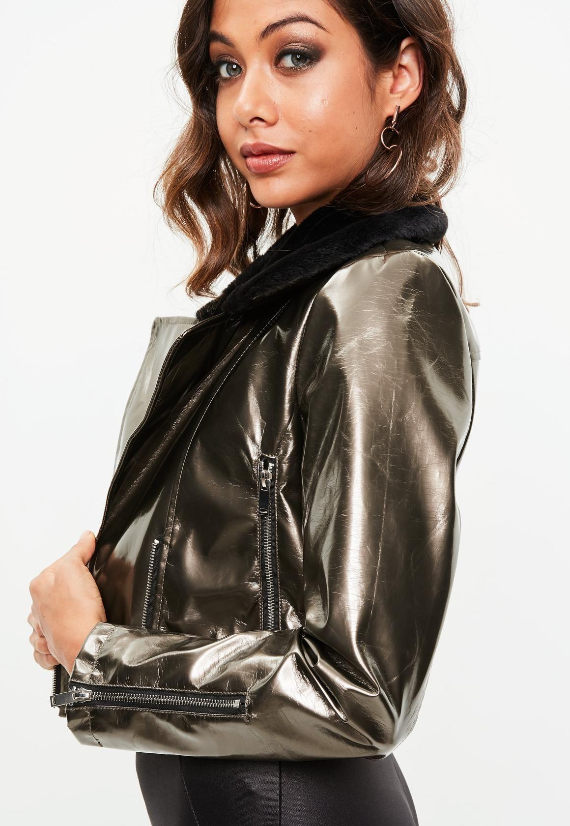 Missguided Gold Faux Fur Collar Vinyl Biker Jacket Grey At 60 Love The Brands Jackets Women S Coats Jackets Faux Fur Collar