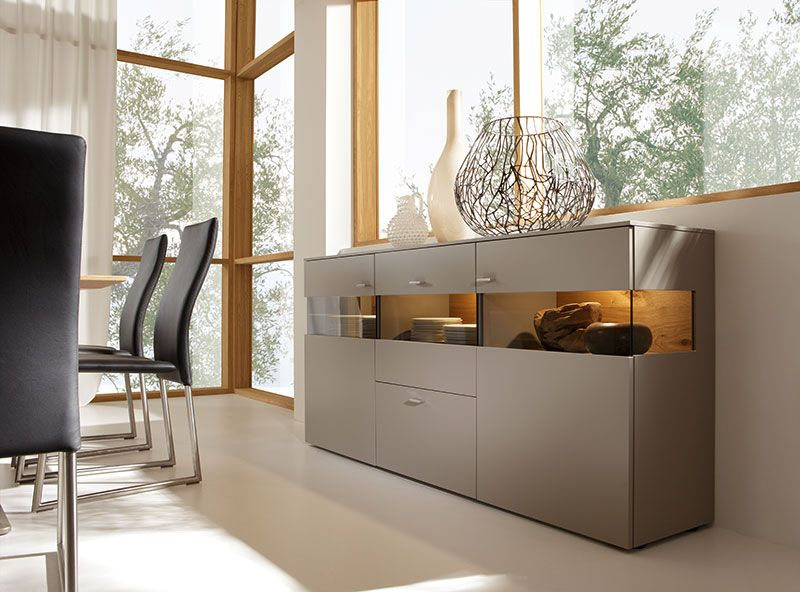 Contemporary felino 4 door sideboard in white grey or for Sideboard taupe