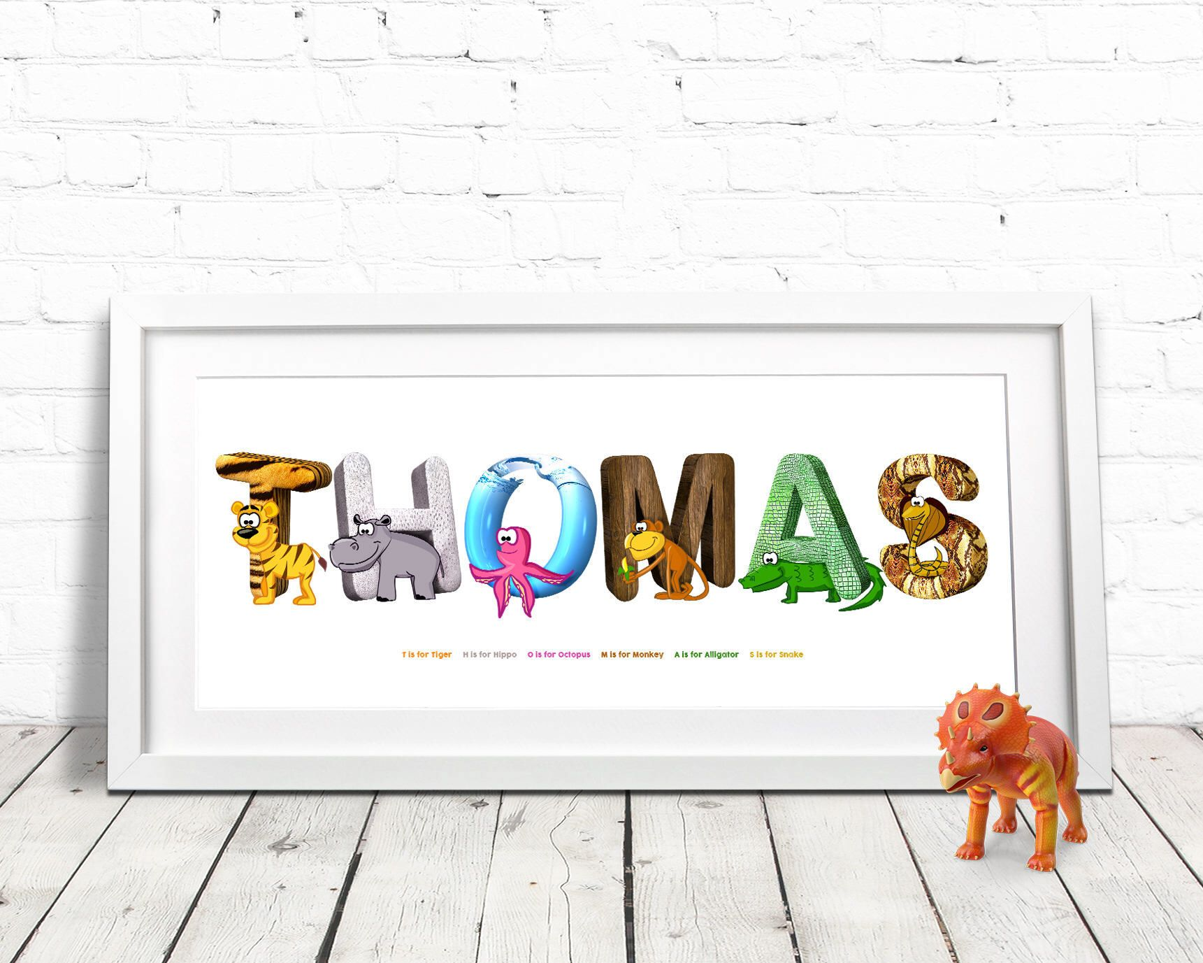 Animal Themed Name Meaning Prints Personalized Set B 10 Backgrounds to Choose