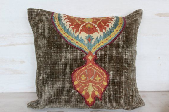 18x18 inch Vintage Rug Pillow Cover with Suzani Embroidery, Ethnic,Bohemian,Embroidered Pillowcase, Decorative Carpet Pillow Cover