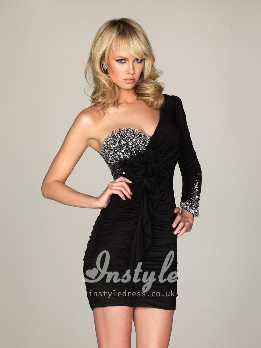 Oneshould beaded long sleeve short black prom dress like