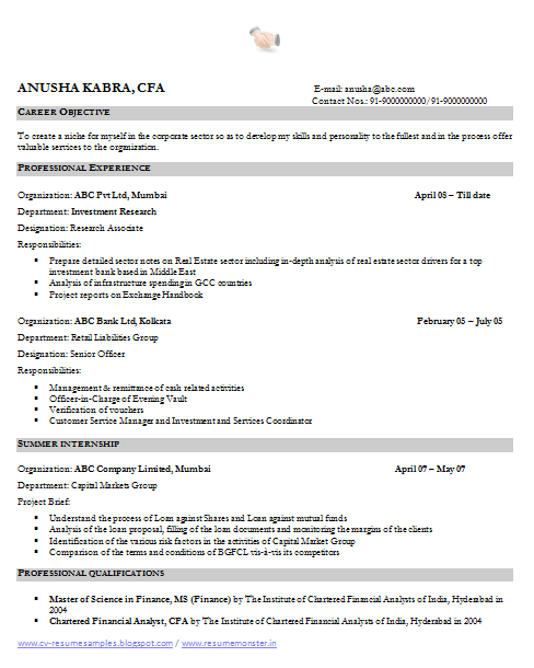Financial Analyst Resume Sample 1 Financial Analyst Resume Examples Chartered Financial Analyst