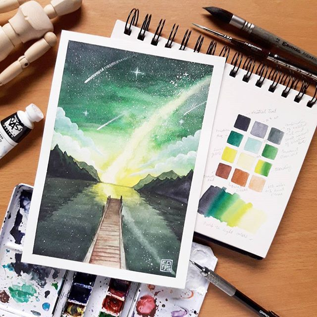 Pier Greenery Sky Watercolor Galaxy Night Sky A Combination