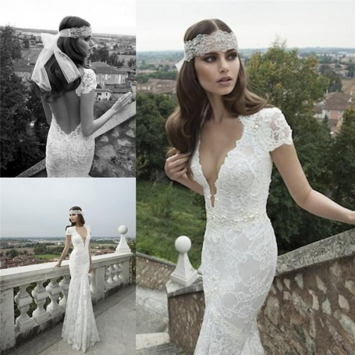 Ssj 2015 Berta Beach Short Sleeve Wedding Dress V Neck White Lace ...